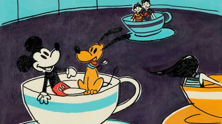 An illustration of Mickey Mouse and Pluto riding the Mad Tea Party together