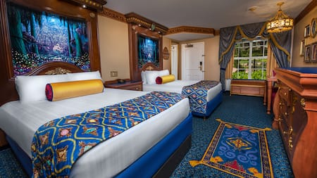 A royal-themed room at Disney's Port Orleans Resort takes inspiration from Princess Tiana and pals