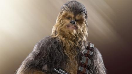 Una foto de tres cuartos de Chewbacca con una parte de su pesada bandolera para cartuchos y su ballesta wookie a la vista