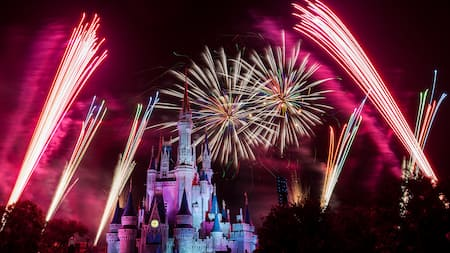 fireworks flower above cinderella caste during holiday wishes at mickeys very merry christmas party