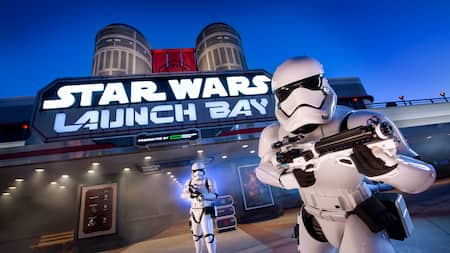 First Order Stormtroopers pose menacingly near 'Star Wars' Launch Bay at Disney's Hollywood Studios