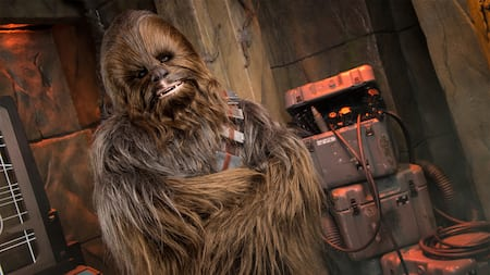 Chewbacca awaiting Guests during a Character Greeting experience inside 'Star Wars' Launch Bay