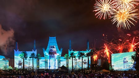 Fireworks and projections bring Star Wars: A Galactic Spectacular to life at Disney's Hollywood Studios