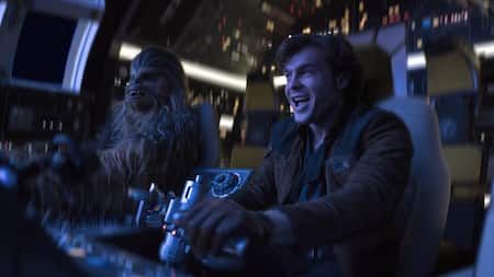 Han Solo and Chewbacca piloting a space ship