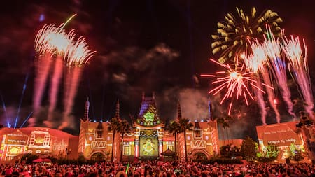 fireworks bursting over the jingle bell jingle bam event
