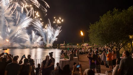 Fireworks erupt across a lake from a crowd of people at night