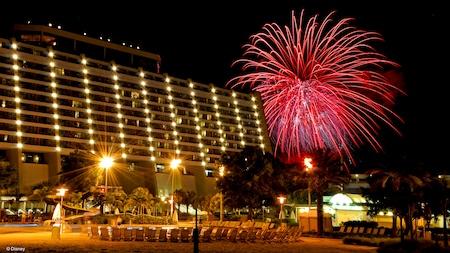 Monorail tracks lead straight to Disneys Contemporary Resort at sundown