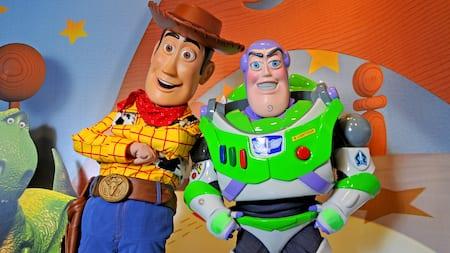 Statues of Woody and Buzz Lightyear from Toy Story, posed together