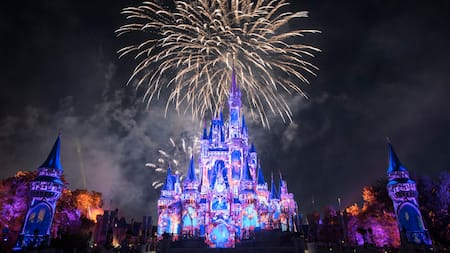 A laser light and fireworks show occurring in the skies above Cinderella Castle