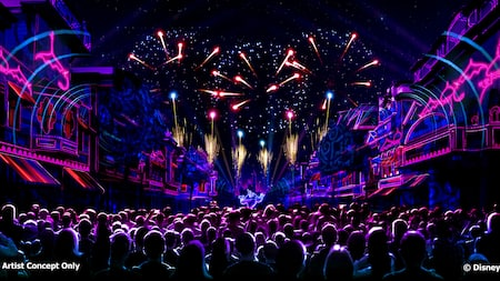 An illustration of a large crowd watching fireworks and a light show on Main Street