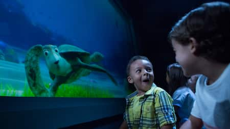 The animated host of Turtle Talk with Crush entertains young Guests