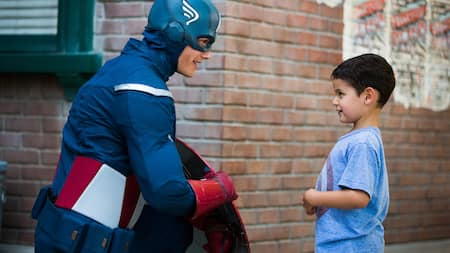Captain America and a little boy
