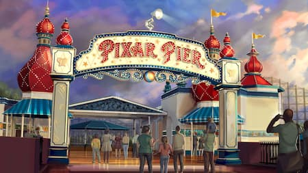 The Pixar Pier marquee welcomes Guests to the newly re-imagined land that celebrates everything Pixar