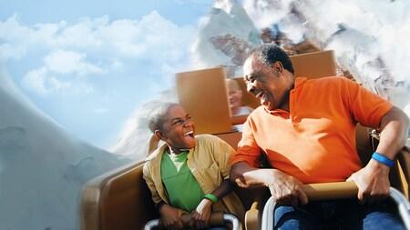 Grandparents and grandchildren creating new memories aboard attractions at Walt Disney World Resort.