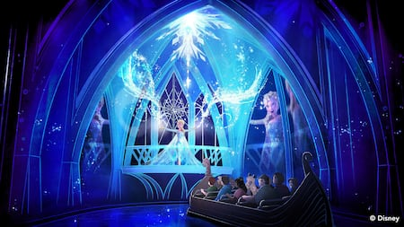 Inside an ice castle, Guests in a boat watch as Elsa demonstrates her magic ice powers