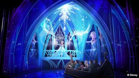 Dentro del castillo de hielo, los Visitantes son testigos desde un bote de cómo Elsa demuestra sus poderes mágicos de hielo