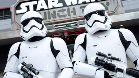A menacing duo of First Order Stormtroopers standing guard directly in front of Star Wars Launch Bay