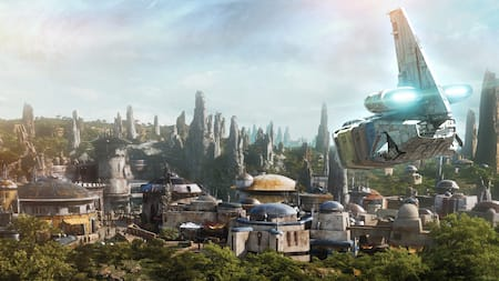 A spaceship comes in for a landing at a remote outpost on the planet Batuu at Star Wars: Galaxy's Edge