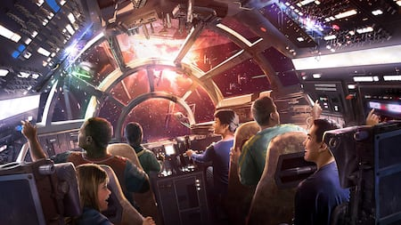 Conceptual artwork showcasing Guests as they pilot the Millennium Falcon at Star Wars: Galaxy's Edge