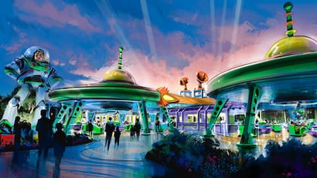 Concept art of Toy Story Land with a giant figure of Buzz Lightyear and the Alien Swirling Saucers spinner ride under 2 retro flying saucer shaped structures