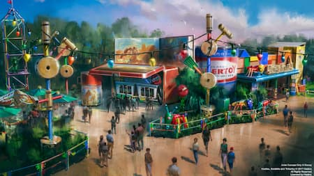 Concept art depicting people wandering through Toy Story Land