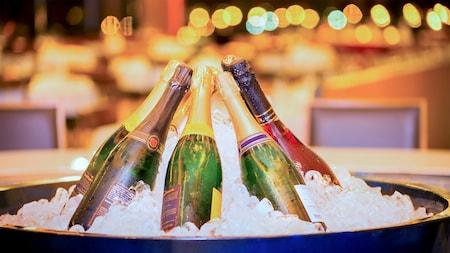 Botellas de champagne ubicadas en círculo dentro de un gran recipiente con hielo