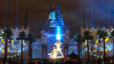 Lights beam into the sky above Disney's Hollywood Studios during 'Star Wars': A Galactic Spectacular