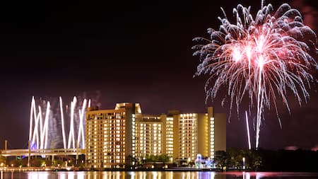 A fireworks display near Disney's Contemporary Resort