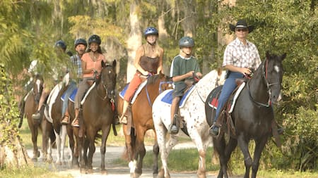 A group of horseback riders on a wooded trail