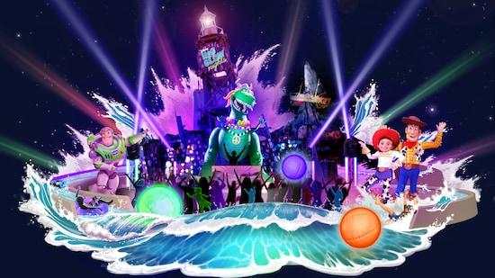 """Un letrero en una torre de agua dice """"Disney H2O Glow Nights"""" mientras agua iluminada salpica a los Personajes de Toy Story"""