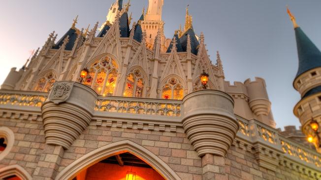 Gothic arches, turrets and spires of Cinderella Castle at Magic Kingdom Park in Walt Disney World Resort
