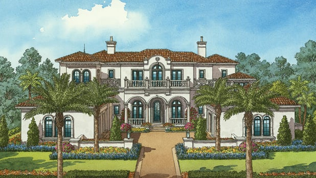 An artist's rendering of a 2-story home with a driveway, wall and landscaped yard