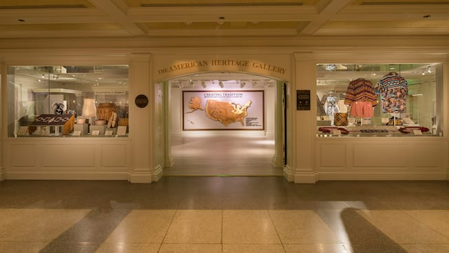 The entrance to The American Heritage Gallery, flanked by displays with Native American artifacts