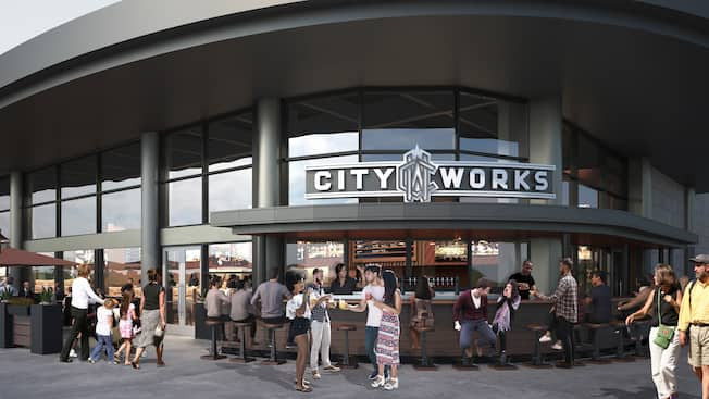 An artist's rendering of the exterior of City Works with Guests enjoying the outdoor bar area