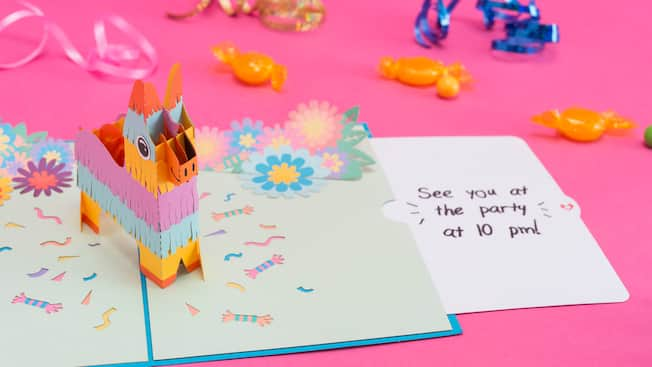 3D card featuring a donkey piñata