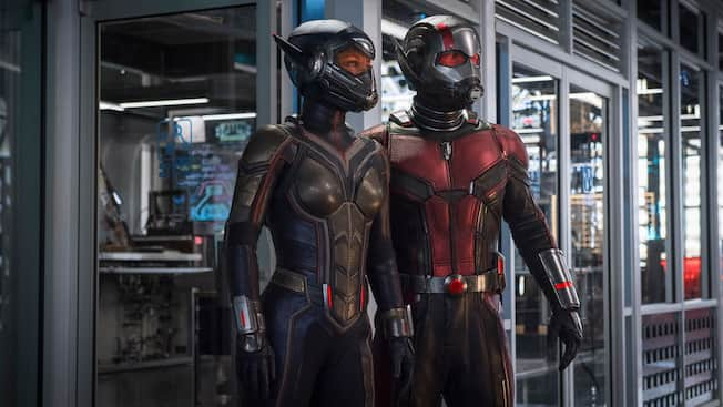 A film still from the Ant Man and The Wasp featuring the Ant Man and The Wasp
