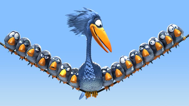 A still from the Pixar short For the Birds showing tiny birds sitting on a wire with a large bird in the middle
