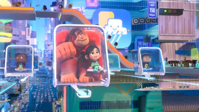 Ralph and Vanellope marvel at the view from a cramped, transparent pod