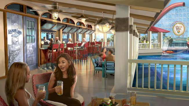 Rendering of Guests eating on the outdoor patio of Lamplight Lounge with waterfront views of Pixar Pier
