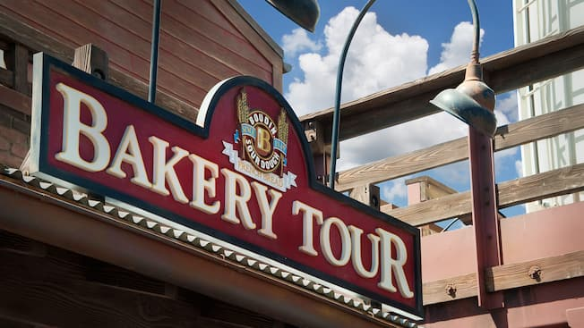 Sign above the entrance to The Bakery Tour ? Hosted by Boudin Bakery