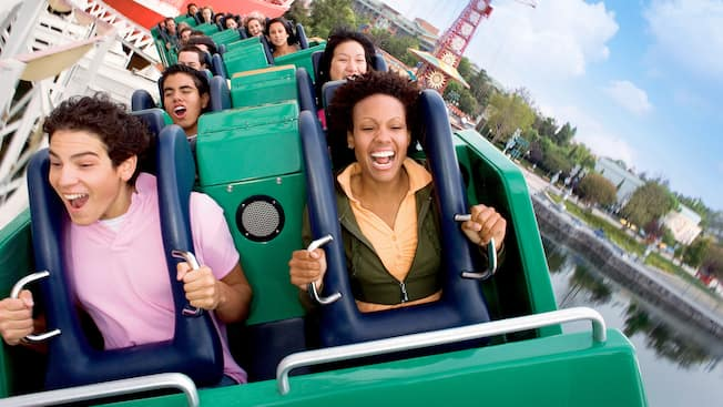 Guests grin big as the wind whips their hair on California Screamin'
