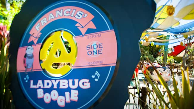 Francis' Ladybug Boogie has a swingin' soundtrack and a sign inspired by a 45 RPM record