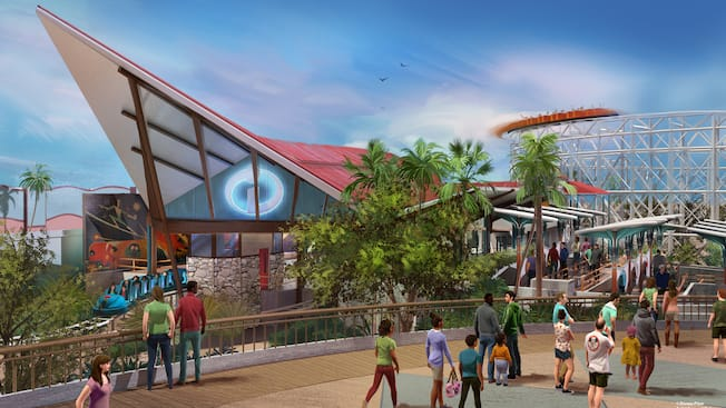 The mid-century modern styled entrance to the Incredicoaster welcomes Guests to the attraction