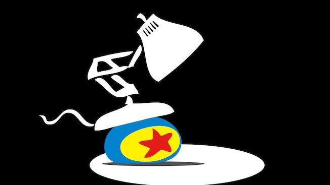 The Pixar lamp sitting on top of the Pixar ball
