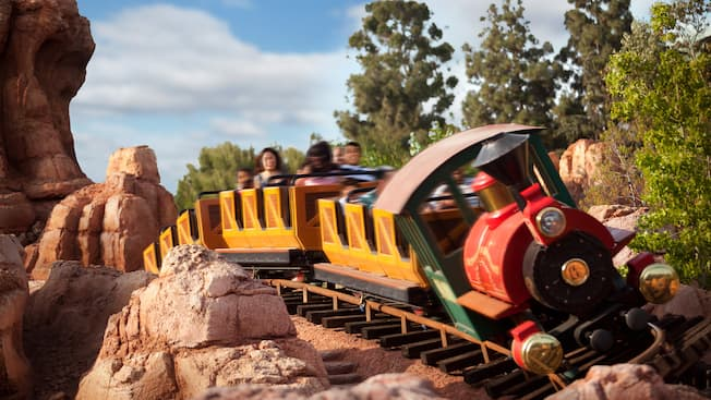 The Big Thunder Mountain Railroad train comes around a thrilling bend
