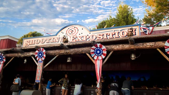Sign for Shooting Exposition, a Disneyland attraction