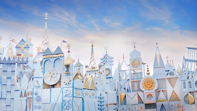 The fanciful it's a small world façade is full of whimsical detail