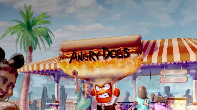 Conceptual artwork of the Angry Dogs foot stand at Pixar Pier in Disney California Adventure Park