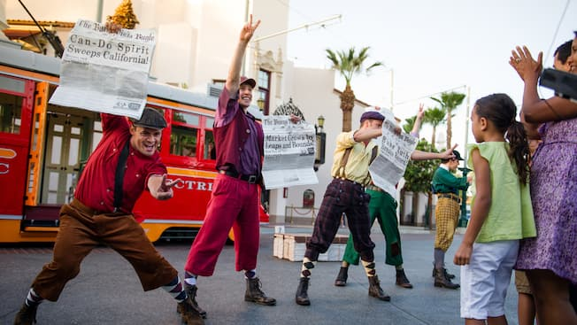 The Red Car Trolley News Boys perform for Guests on Buena Vista Street at Disney California Adventure Park