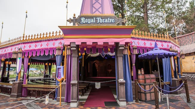 The medieval-style entrance to the Fantasy Faire Royal Theater in Disneyland